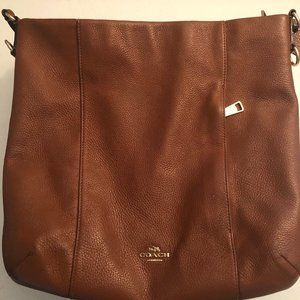 Coach Saddle/Gold Pebbled Leather Shoulder Bag